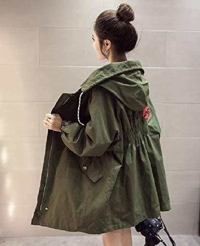 Metà Giacca Militare Rilassato Cappuccio Lunga Parka donne Fino Verde Giacca Howme Trincea Con Zip Vento A A Uav0BwnFx