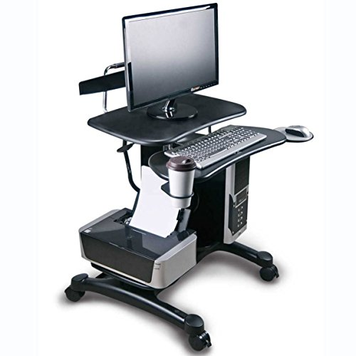 Aidata Ergonomic Sit-Stand Mobile Computer Desk Work Station Cart with Keyboard Tray, CPU Holder, Printer Shelf, Mouse Pad and Cup Holder (Model: PCC004P) -