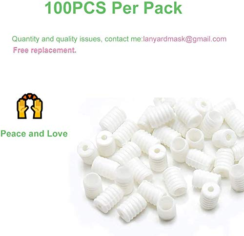Cord Locks Silicone PVC Toggles for Drawstrings Elastic Cord Adjuster Non-Slip Stopper, Adjustable Lanyard Buckle Barrel Connectors, for Drawstrings Elastic Cord Adjuster Non-Slip Stopper (White, 100)