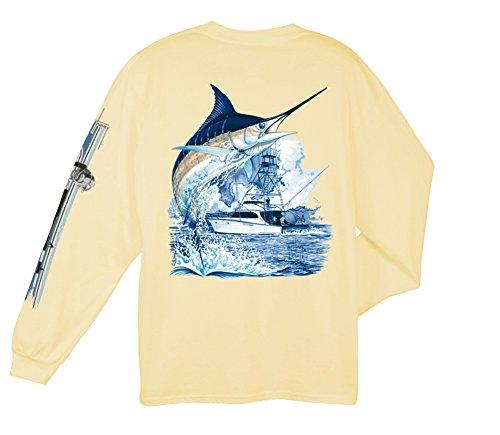 Guy Harvey Marlin Boat Long Sleeved T-Shirt, Yellow, Medium