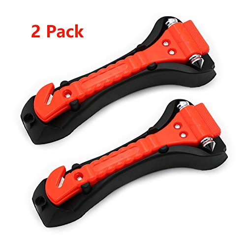 Escape Seat - LC Car Safety Hammer Window Breaker with Seat Belt Cutter Glass Punch Emergency Escape and Rescue Tool 2 Pack
