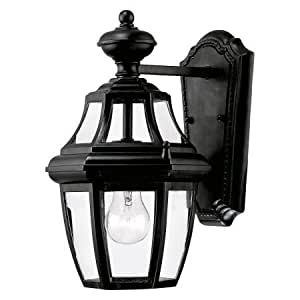 Glass, Metal Outdoor Wall Lantern,ncandescent Light Bulbs Wall Lantern,Black