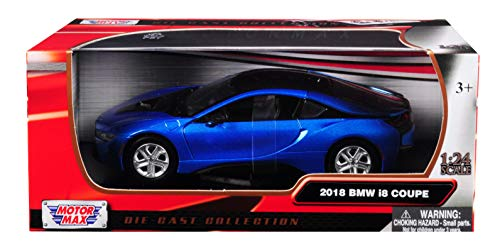 (2018 BMW i8 Coupe Metallic Blue with Black Top 1/24 Diecast Model Car by Motormax 79359)