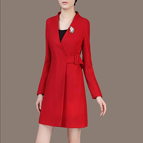 Moda las yardas grandes manga larga escudo de lana larga mujer de Red