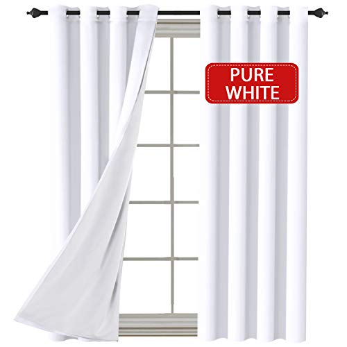 H.VERSAILTEX White (2 Layers) Curtains Elegant Extra Long Lined Faux Silk with White Liner Panels Drapes Thermal Insulated Window Treatment Grommet 2 Panels, 108 Inch Length (White Silk Drapes)