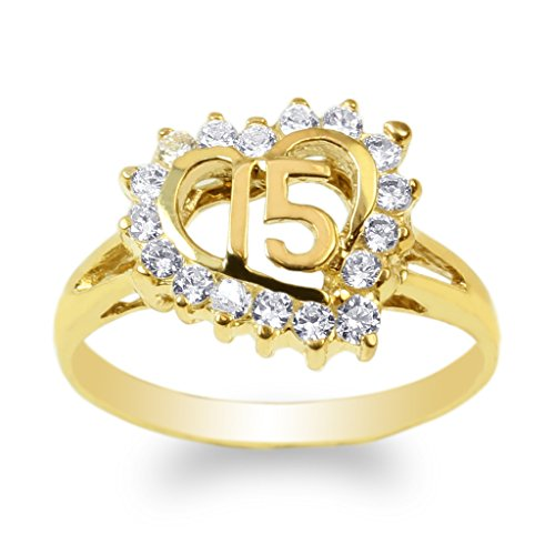 JamesJenny 14K Yellow Gold 15 Anos Quinceanera Heart Ring Size 7.5 by JamesJenny