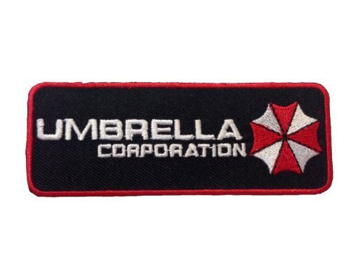 """Resident Evil Umbrella Corporation Badge Iron On PatchApprox: 4""""/10cm x Approx: 1.5""""/3.5cm By MNC Shop"""
