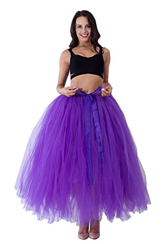 Christmas 100 cm Long Adult Puffy Tutu Tulle Skirt For Women Floor Length Wedding Costume Party Skirts Purple free (Fashion Tutu Skirts For Adults)