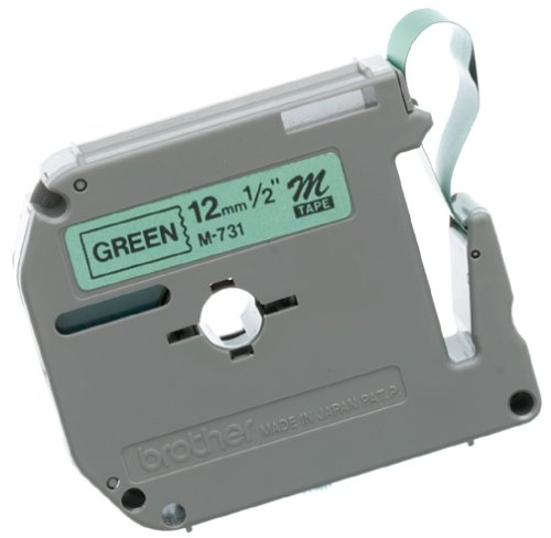 Brother Tape Cartridge 0.5IN Wide, Non-laminated Black On Green (Metallic Green Non Laminated Tape)