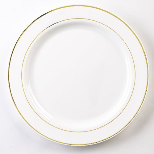 EMI Yoshi Koyal Glimmerware Dinner Plates, 10.25-Inch, White and Gold, Set of 120
