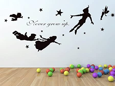 Peter Pan Wall Decal Vinyl Nursery Kids Children Decals Flying Tinkerbell  Wendy Stars Home House Baby