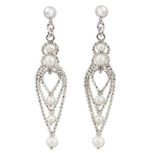 NOVICA White Cultured Freshwater Pearl .925 Silver Chandelier Earrings, Droplet Chandeliers']()