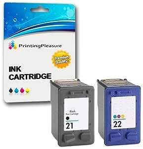 Printing Pleasure 2 XL Compatibles HP 21XL & HP 22XL Cartuchos de Tinta para Deskjet 3940 F2120 F2180 F2280 F350 F370 F380 F4180 D1460 D2360 D2460 ...
