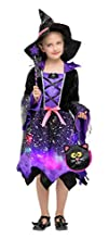 Cloudkids Girls Halloween Witch Costumes Light-up Kids Witch Costume Fancy Dress with Accessories(4-6 Years)
