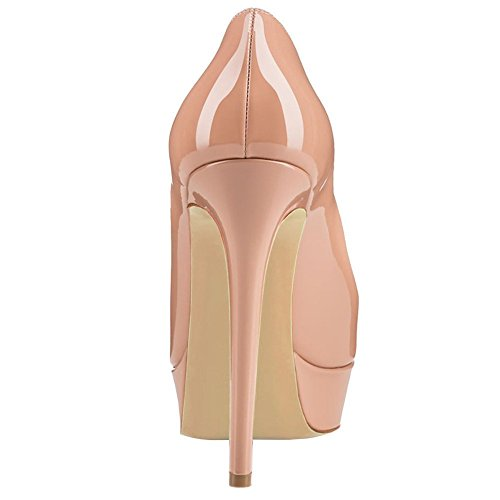 Heel Round Pumps Nude Toe High Platform Stiletto Dress Shoes for Slip UMEXI Women On Party Wedding npwf1Sqq