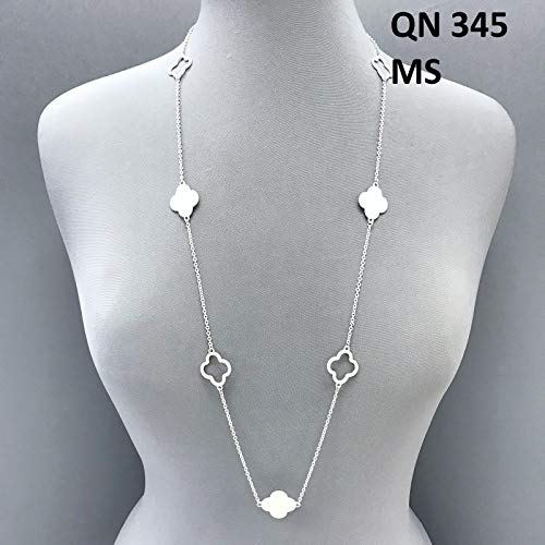 Matte Silver Finished Long Cut out Open Closed Multi Clover Design Necklace Set For Women