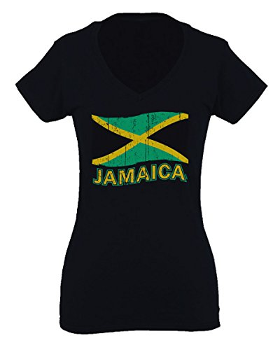 Jamaica Tee Jamaican National Country Flag Tee Carribean for Women V Neck Fitted T Shirt (Black, Medium)