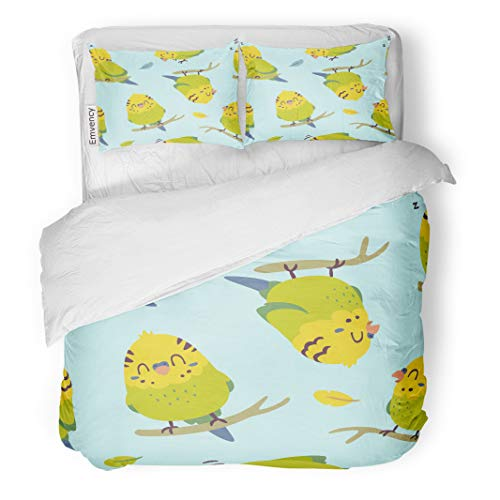 Semtomn Decor Duvet Cover Set Full/Queen Size Blue Adorable Cartoon Budgie Parrot Colorful Animal Baby Beak 3 Piece Brushed Microfiber Fabric Print Bedding Set Cover]()