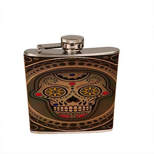 Sugarskull Nitro Leather Flask - 6 oz. Leather Wrapped Liquor Hip - Leather Nitro