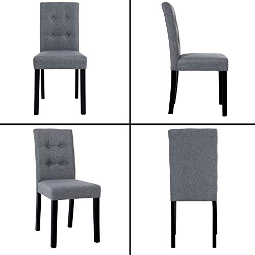 GOTMINSI Parsons Dining Chairs with Solid Natural Wood Legs Button-Tufted Chairs Set of 4(Gray)