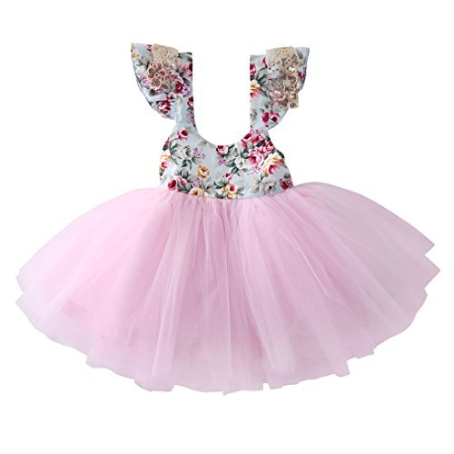 Newborn Toddler Baby Girls Floral Dress Party Ball Gown Lace Tutu Formal Dresses Sundress (12-18M, Pink)