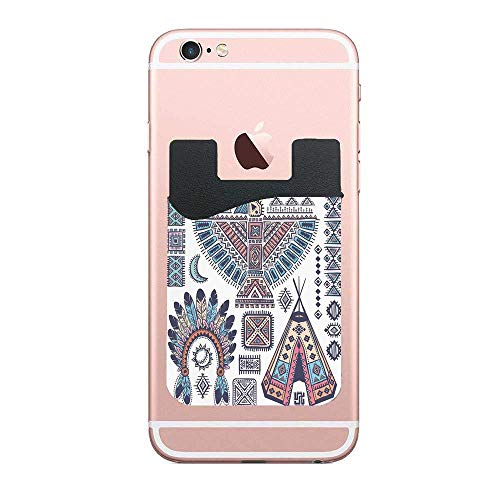 Tribal Ethnic Teepee Tents Eagle Symbol Moon Sun and Feather Chief Hat Print DIY 2 PCS Cell Phone Stick on Wallet Card Holder Phone Pocket for iPhone, Android and All ()