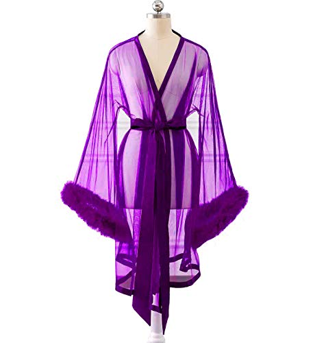 - Changuan Sexy Feathers Short Wedding Evening Prom Robe Long Sleeve Bathrobe Sleepwear Loungewear Short-Purple L/XL