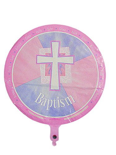 Pink Religious and Joyous Baptism Balloons - 6 Pack of 18