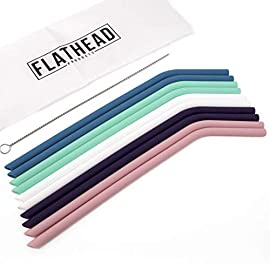Flathead Bent Reusable Silicone Drinking Straws w/Cleaning Brush - Extra long for 30oz and 20oz tumblers and BPA Free (Set of 10) 16 ✔️ HIGH QUALITY SILICONE - We only use 100% food grade, BPA free silicone. Our environmentally friendly straws are easy on your teeth without the worry that comes with other materials AND they are kid friendly ✔️ USE WITH TUMBLERS - Our straws are compatible with RTIC, tervis, and YETI 30-40 oz tumblers. Use them for your favorite cold or hot drinks ✔️ CLEANS EASILY - Our silicone straws are dishwasher safe. We always recommend to wash your new straws before the first use in warm soapy water with the included cleaning brush or a give them a spin through the dishwasher
