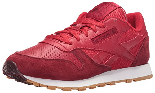 Reebok Women's CL Leather SPP Fashion Sneaker, Flash Red/Merlot/White/Gum, 11 M US
