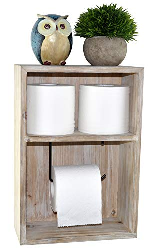 (Spiretro Wall Mount Toilet Paper Holder, Decorative Tissue Paper Roll Dispenser Floating Shelf, Recessed Cubby Box Bracket Cabinet, Storage, Reserve, Organize for Bathroom, Rustic Torch Wood- Grey)