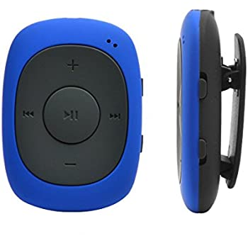 AGPTEK G02 8GB MP3 Player, Portable Clip Music Player with FM Radio/Shuffle (Switch with One Click), Blue