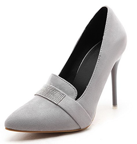 Solid Pointed Pumps Pull 42 On High Women's Odomolor Heels Gray Toe Frosted Shoes qEUgw8cC4