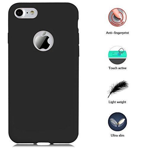 Funda iPhone 7, CaseLover Ultra Delgado Suave TPU Carcasa para Apple iPhone 7 (4.7 Pulgadas) Flexible Silicona Parachoques Gel Arañazos Absorbente Resistante Goma Mate Opaco Amortigua Golpes Protectiv Negro