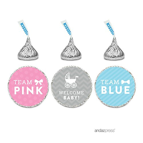 (Andaz Press Team Pink Team Blue Gender Reveal Baby Shower Party, Chocolate Drop Labels Stickers Trio, 216-Pack, Fits Themed Hershey's Kisses Party)