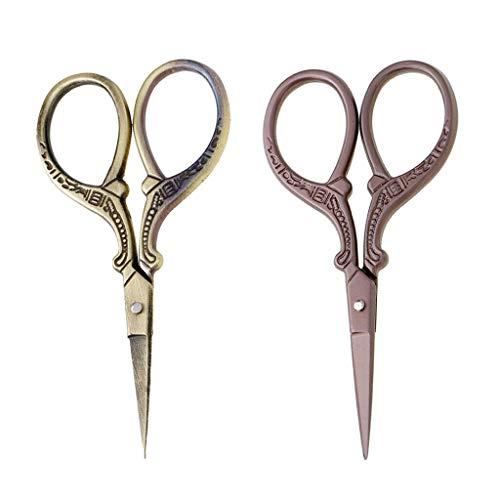2pcs Bronze Vintage European Dressmaker Scissors Stainless Steel for Sewing ()