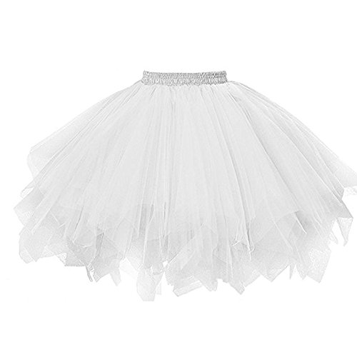 ZOMUSA Hot Sale Womens Pleated Gauze Costume Adult Party Tulle Short Skirt Fluffy Petticoat Tutu Dance Dress (One Size, White)