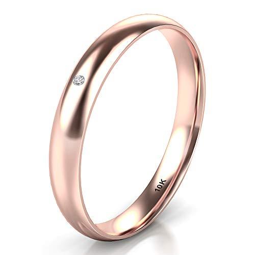 Sz 10.0 Solid 10K Rose Gold Diamond 3MM Dome Wedding Anniversary Band Ring (Diamond Wedding 3 Rings For Women)