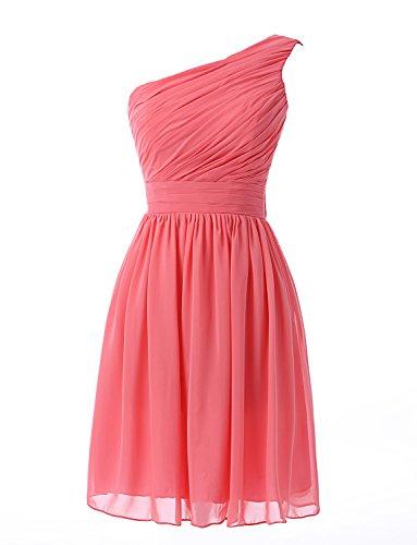04b045d4454 Kiss Dress Women s Short Bridesmaid Dresses One Shoulder Chiffon Prom Gowns  (L