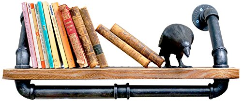 NACH Qa-1030 Diy Industrial Style Silver Brushed Black Pipe and Single Rustic Modern Wood Shelf with Towel Rack, 24'' x 9.8'' by NACH