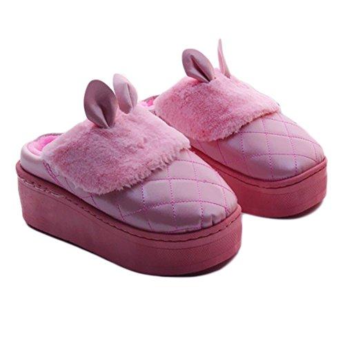 CYBLING Women Warm Indoor Slipper Cute Rabbit House Shoes Thick Sole Anti-Slip Waterproof Pink YY7SjzqbN0