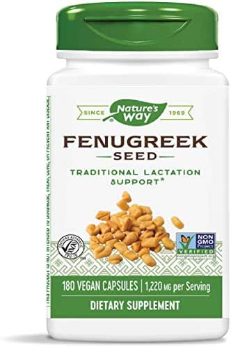 Nature's Way Fenugreek Seed, 1,220 mg per serving, Non-GMO Project Verified, TRU-ID Certified, Vegetarian, 180 Capsules