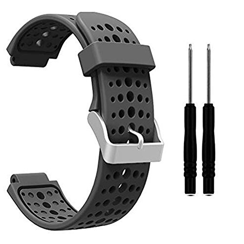 HWHMH 1PC Replacement Silicone Bands With 2PCS Pin Removal Tools For Garmin Forerunner 220/230/235/620/630 (No Tracker, Replacement Bands Only) (Pure color: Gray)