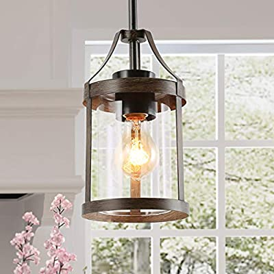 LNC Farmhouse Pendant Lighting for Kitchen Island, Mini Faux-Wood Rustic Pendant Light with Clear Cylinder Glass Shade for Dining Room, Foyer, Entryway
