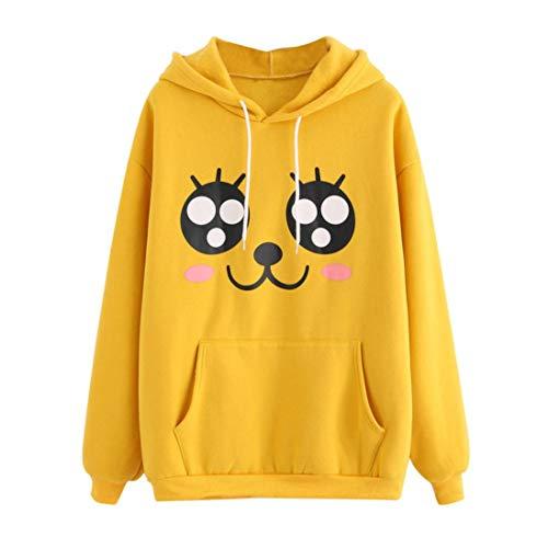 (Shybuy Women's Hoodie Cute Cartoon Eyes Print Graphic Long Sleeve Pullover Sweatshirt Sweet T-Shirt Blouse (Yellow, XL) )