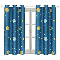 "Room Darkening Kids Curtains for Bedroom –Cute Planet Printed Curtains with Twinkle Star Patterns, Grommet, 2 Panels (42"" Wx63 L Each Panel, Blue)"