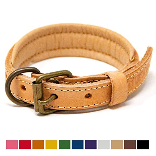 - Logical Leather Padded Dog Collar - Best Full Grain Heavy Duty Genuine Leather Collar - Tan - Small