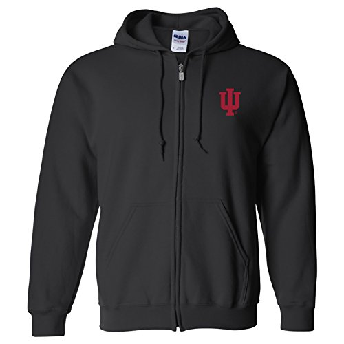 UGP Campus Apparel AZ07 - Indiana Hoosiers Primary Logo Left Chest Full Zip Hoodie - X-Large - Black