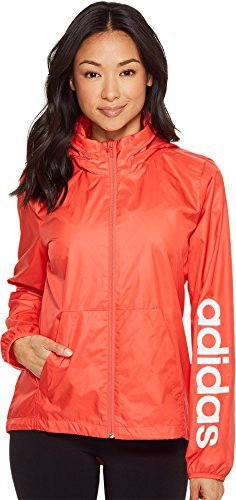 adidas Women's Linear Windbreaker Real Coral Large by adidas (Image #1)