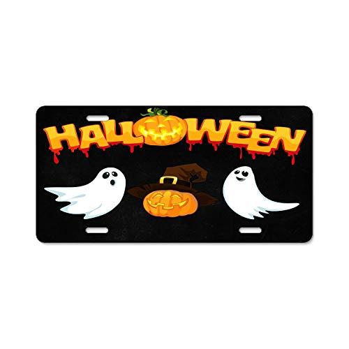 (Jingailicenseco Halloween October Pumpkin License Plate Cover Aluminum License Plate Cover Heavy Duty USA Car Tag 4 Hole and)